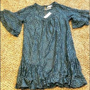 Francesca's blue lace ruffled dress-S